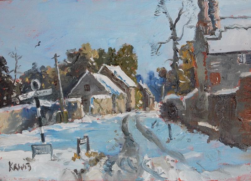 Кирон Уильямсон 21-oil-Norfolk-village-winter-5x7-cb00813