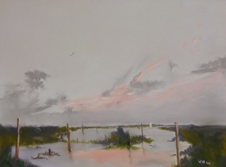 Kieron's favourite pastel 'I love the sky and reeds in this paintng' KRW