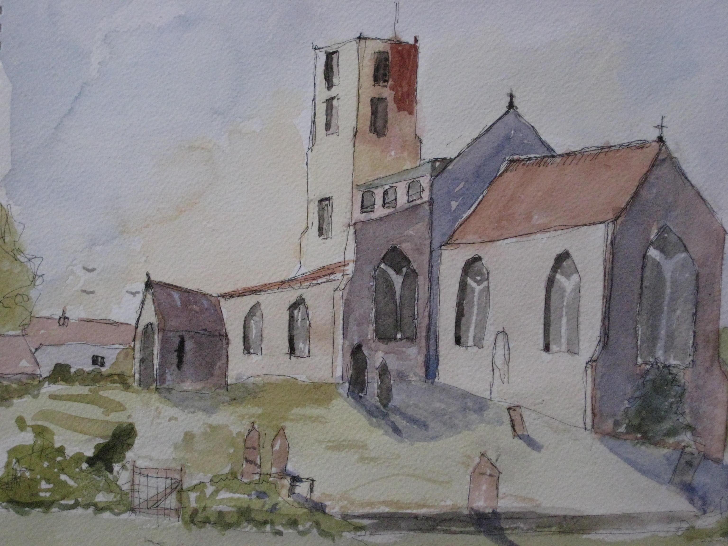 Morston Church watercolour