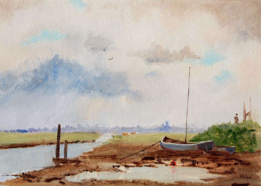 Morston to Blakeney oil 'I love the muddy puddle in the foreground' KRW