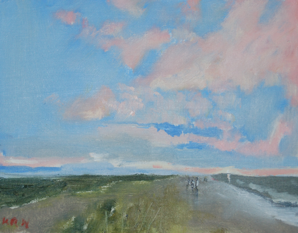 Sunset at Cley oil 'I'm so glad that I could achieve a sunset in oil' KRW