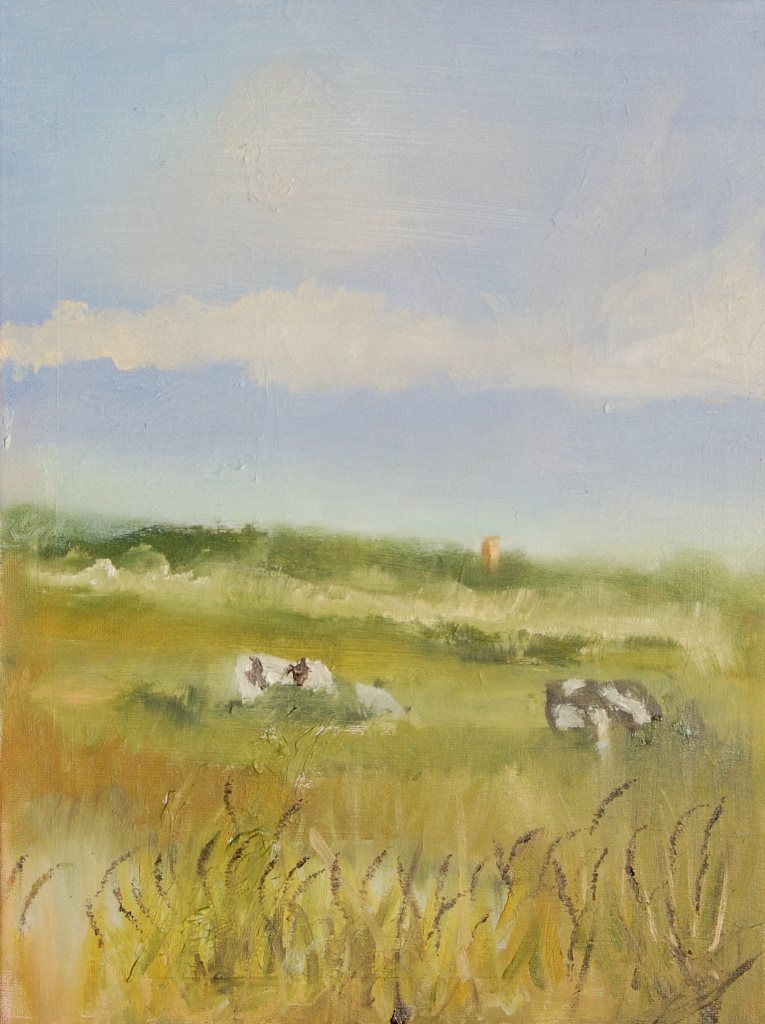cattle on the Marshes oil 'This was the inspiration behind the star canvas I completed for charity' KRW